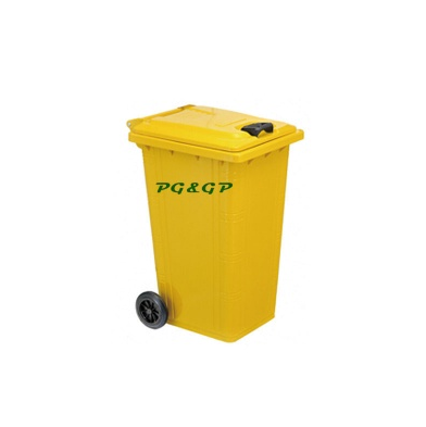 the galvanized garbage container with wheels.